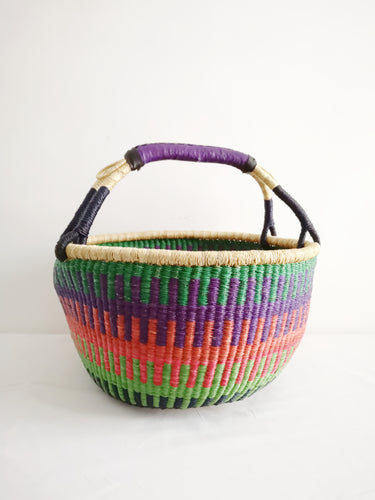 Large Round Market Basket - Green, Pink and Purple