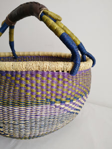 Large Round Market Basket - Navy, Green and Purple