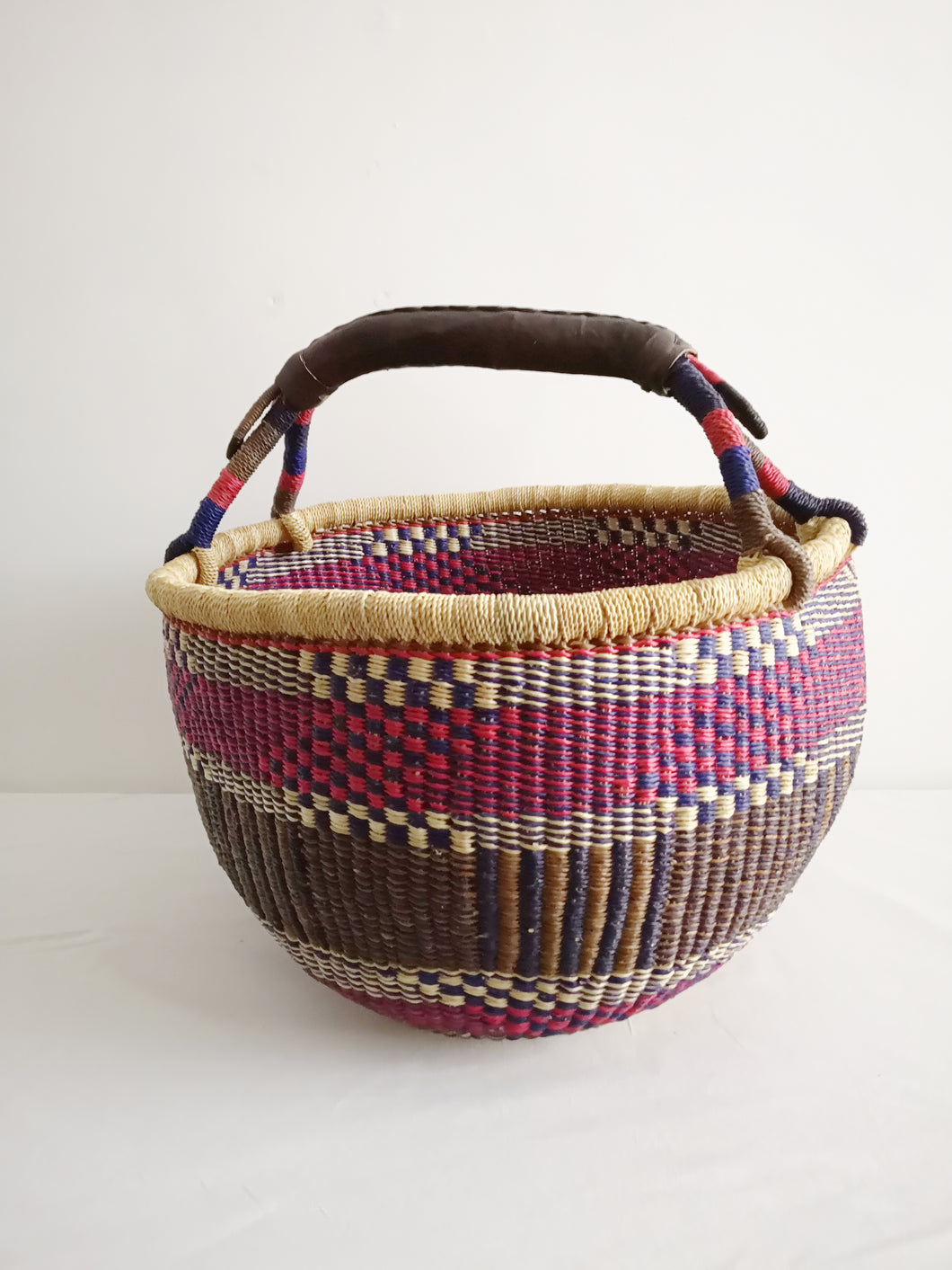 Large Round Market Basket - Pink, Blue and Brown