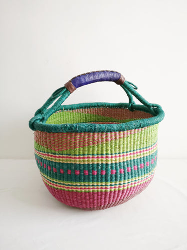Large Round Market Basket - Pink, Blue and Lime