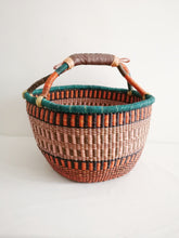 Large Round Market Basket - Pink and Blue
