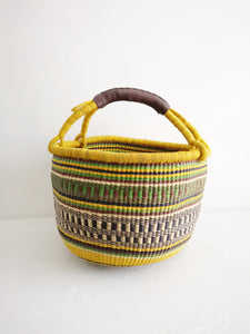 Large Round Market Basket - Yellow and Green