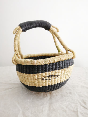 Mini Round Market Basket - Black Patterned