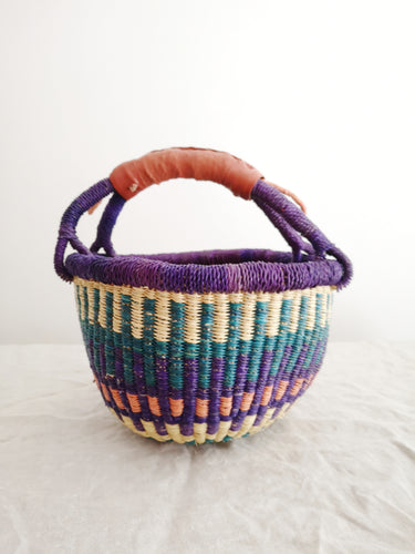 Mini Round Market Basket - Purple Blue and Pink