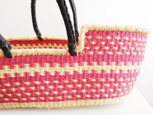 Pink Patterned Woven Baby Moses Basket
