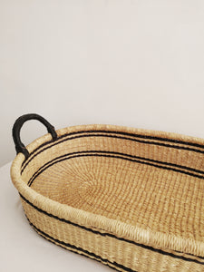 Black Patterned Woven Baby Changing Basket