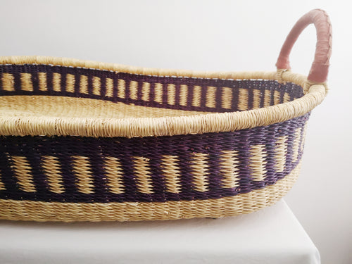 Ink Patterned Woven Baby Changing Basket