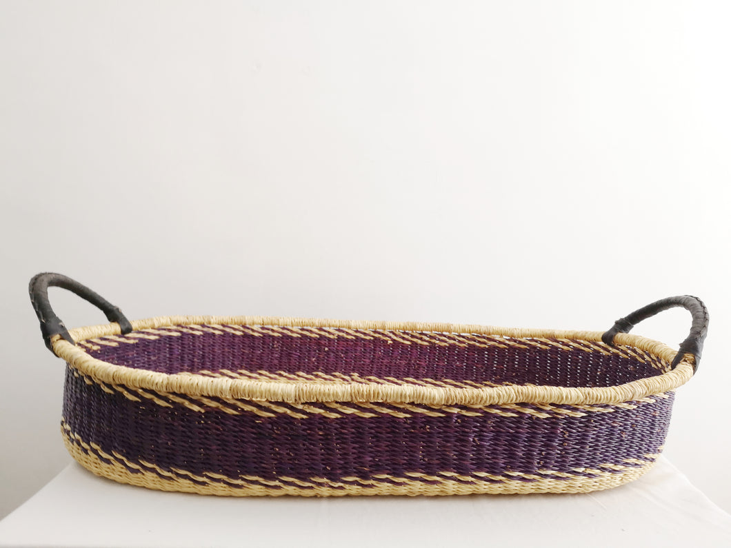 Purple Patterned Woven Baby Changing Basket