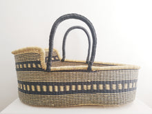 Black Patterned Woven Baby Moses Basket