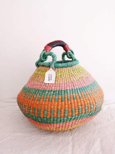 Medium Bolga Pot Basket - Turquoise, Orange, Pink and Lime