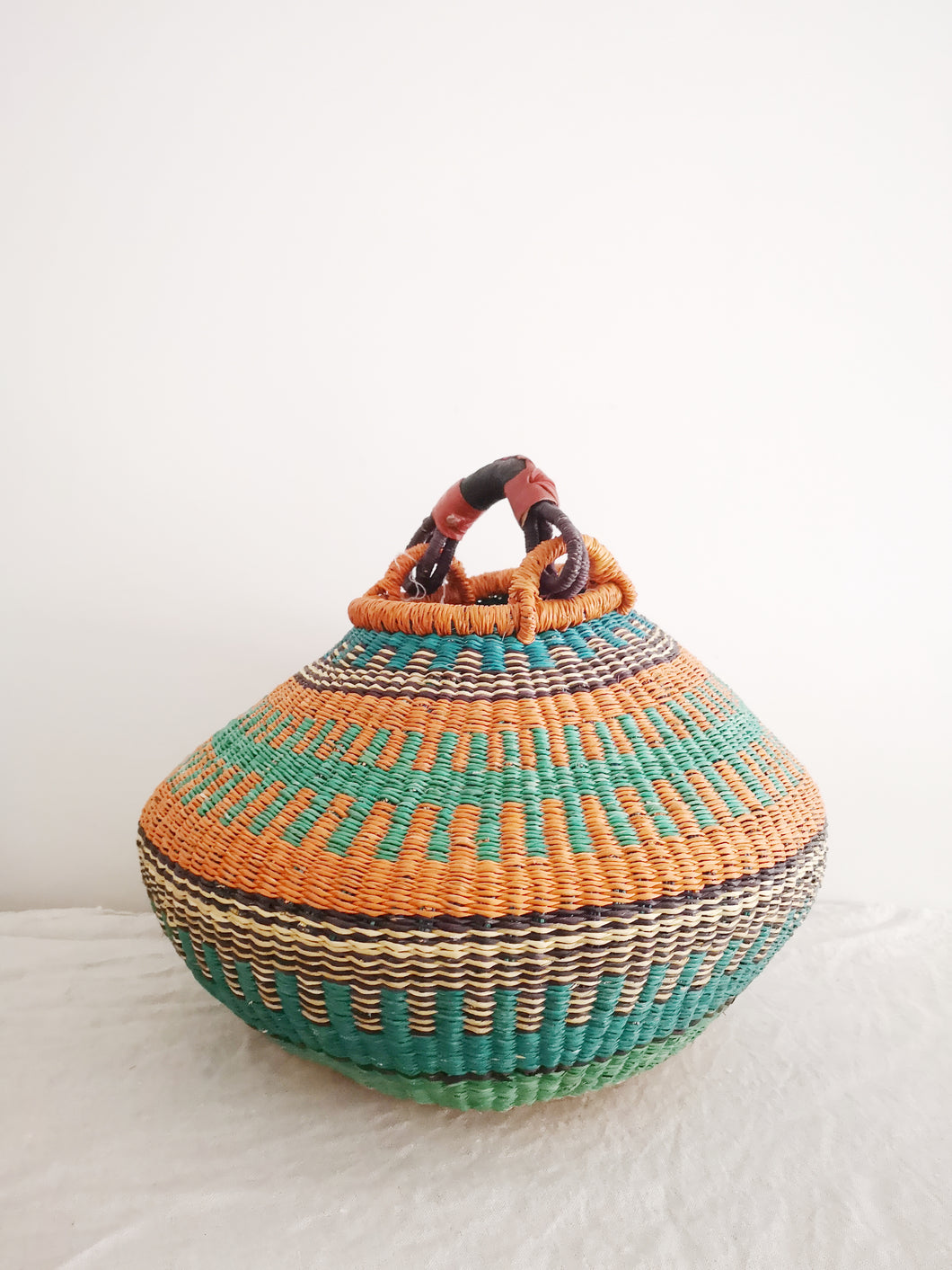 Medium Bolga Pot Basket - Orange and Blue