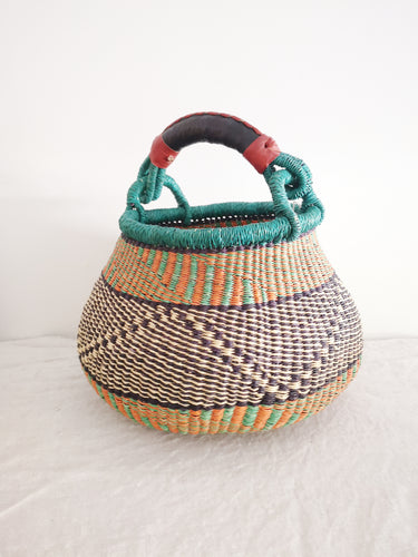 Medium Bolga Pot Basket - Blue, Orange and Lime