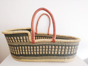 Olive Patterned Woven Baby Moses Basket
