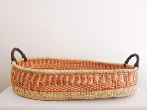 Orange Woven Baby Changing Basket