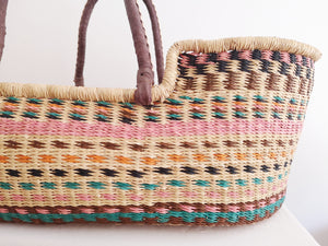 Pink, Brown and Blue Patterned Woven Baby Moses Basket