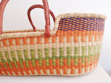 Orange, Like and Blue Patterned Woven Baby Moses Basket
