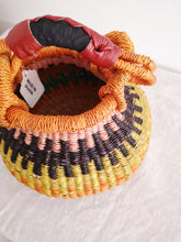 Mini Bolga Pot Basket - Orange, Pink and Yellow