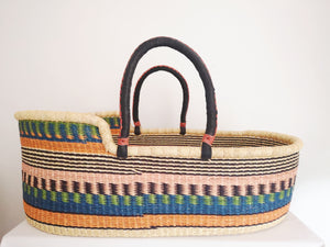 Unique African Bolga Moses Basket. Black Stripe Patterned Fair Trade Ghana