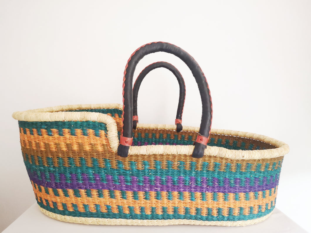 Unique African Bolga Moses Basket. Multi Patterned Fair Trade Ghana