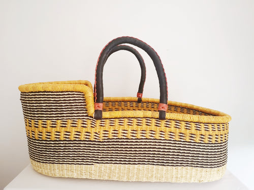 Unique African Bolga Moses Basket. Yellow Patterned Fair Trade Ghana