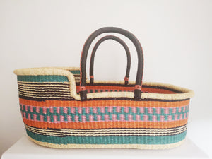 Unique African Bolga Moses Basket. Colour Stripe Patterned Fair Trade Ghana