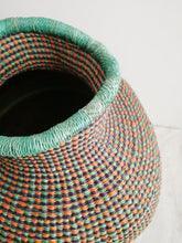 Jemima 10 Cows Artisan Bolga Basket - Teal and Multi