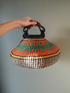 Small Bolga Pot Basket - Orange and Blue