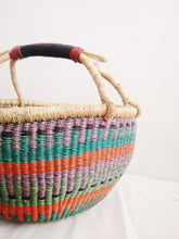 Large Round Market Basket - Orange, Yellow and Green