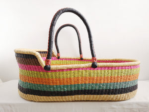 Rainbow Patterned Woven Baby Moses Basket