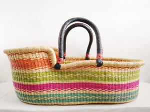 Orange, Pink, Green and Blue Patterned Woven Baby Moses Basket