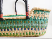 Blue and Green Patterned Woven Baby Moses Basket