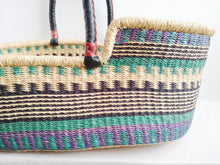 Purple and Turquoise Patterned Woven Baby Moses Basket