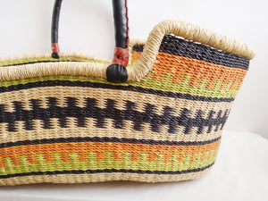 Orange and Green Patterned Woven Baby Moses Basket