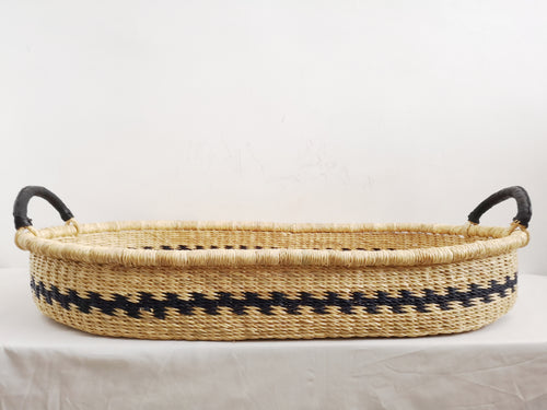 Natural Black Patterned Woven Baby Changing Basket