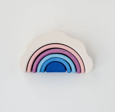 Handmade Wooden Rainbow Stacker Toy - Clouds
