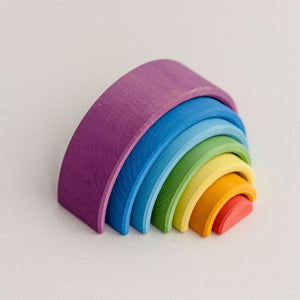 Handmade Wooden Rainbow Stacker Toy - Sunset