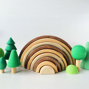 Handmade Natural Arcs Wooden Rainbow Stacker Toy