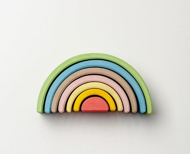 Handmade Wooden Rainbow Stacker Toy - World