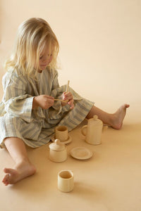 Handmade Wooden Tea Set - Pastel