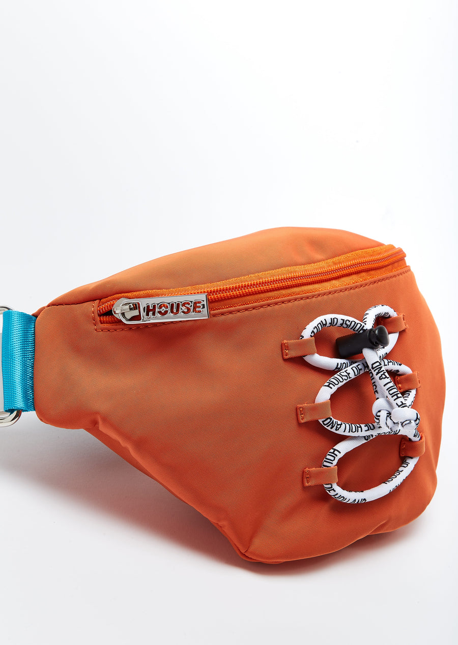House of Holland bumbag with cord detail and logo straps in orange