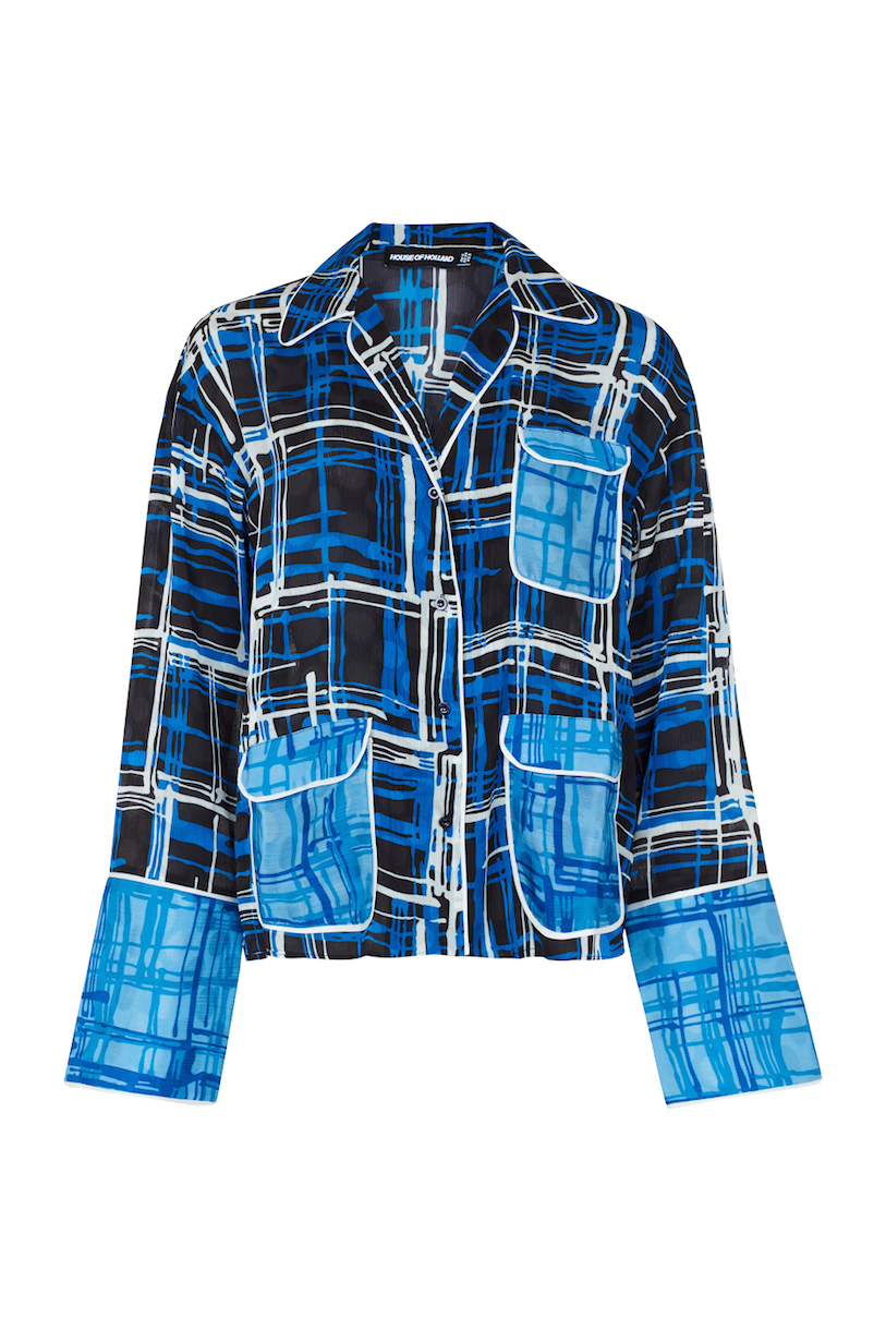 Checked Blue Pyjama Shirt