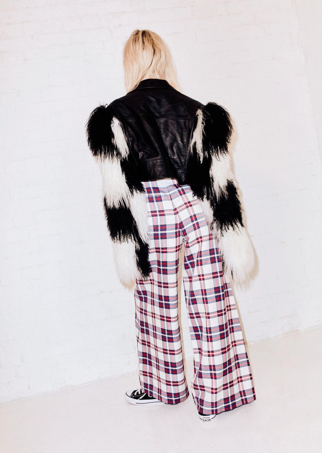 Mongolian Checkerboard Crop Jacket