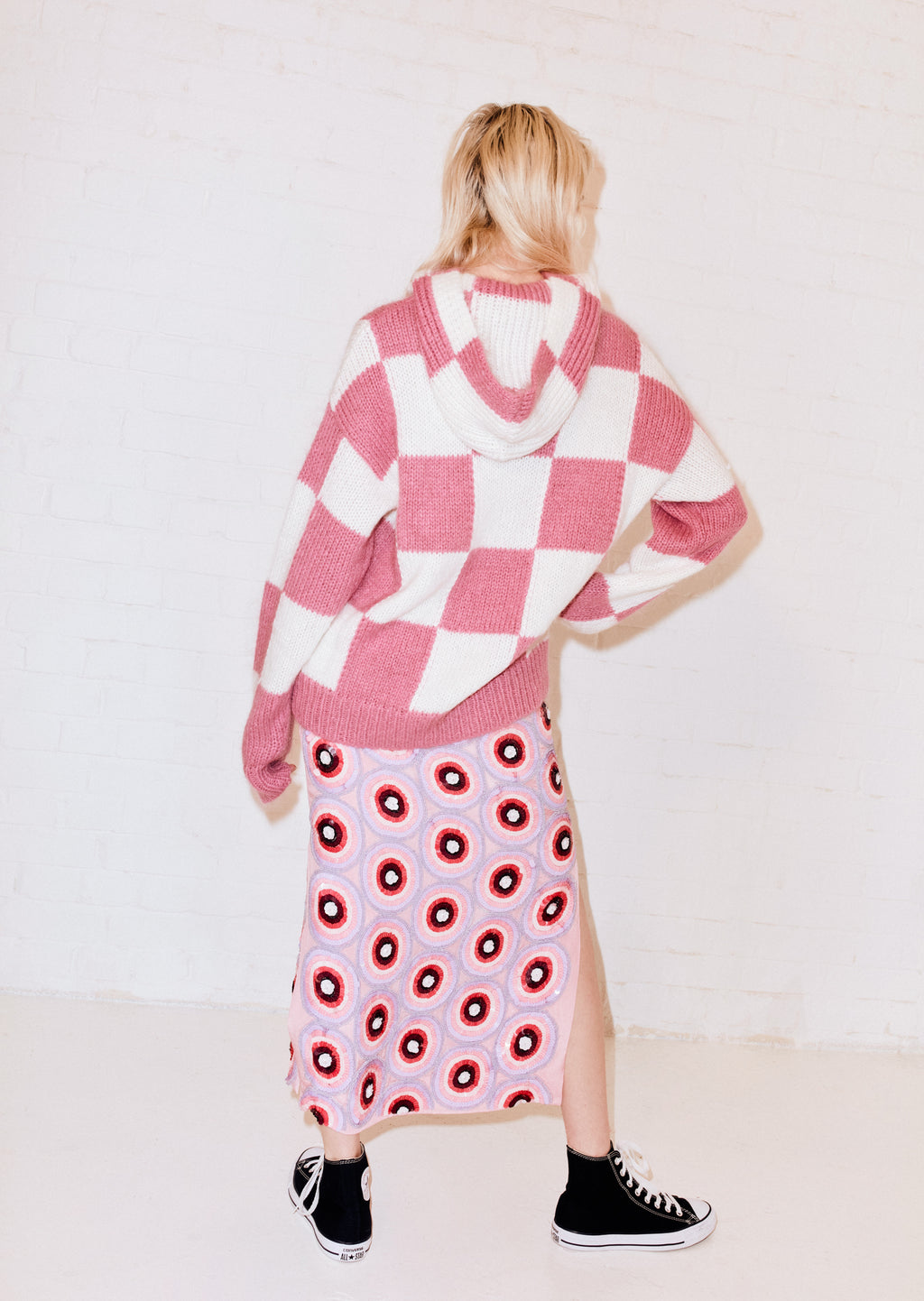Pink and White Checkerboard Mohair Hoodie