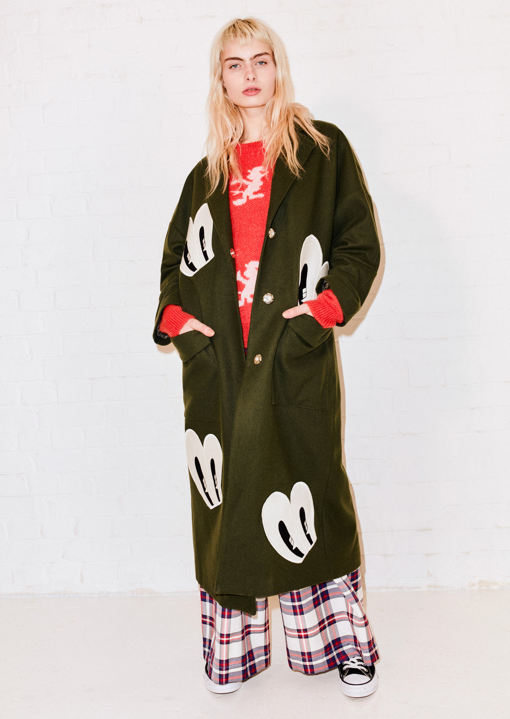 Floor Length Eye Wool Coat