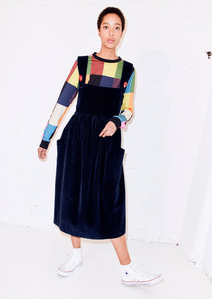 OVERSIZED CORD PINAFORE DRESS
