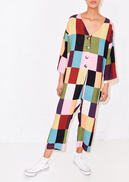 PATCHWORK PRINTED RELAXED JUMPSUIT