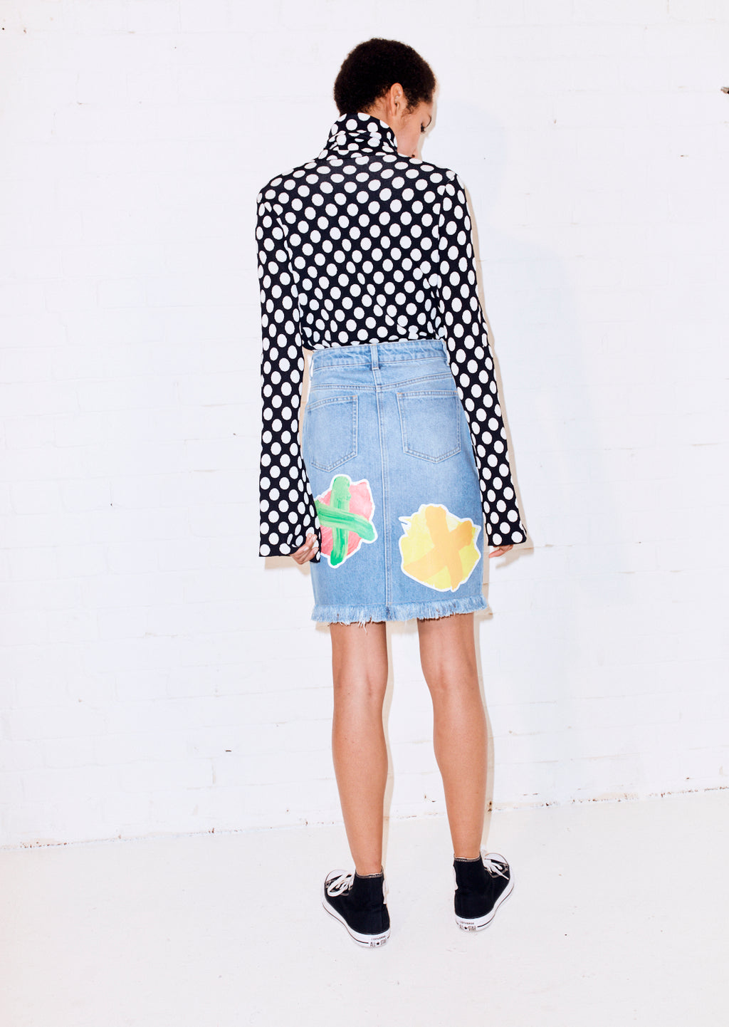 Denim Skirt With Cross Print Patches