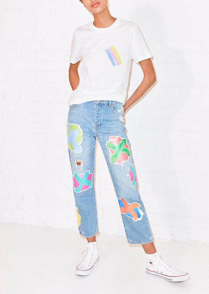 CROSS TRANSFER PRINT BOYFRIEND JEAN
