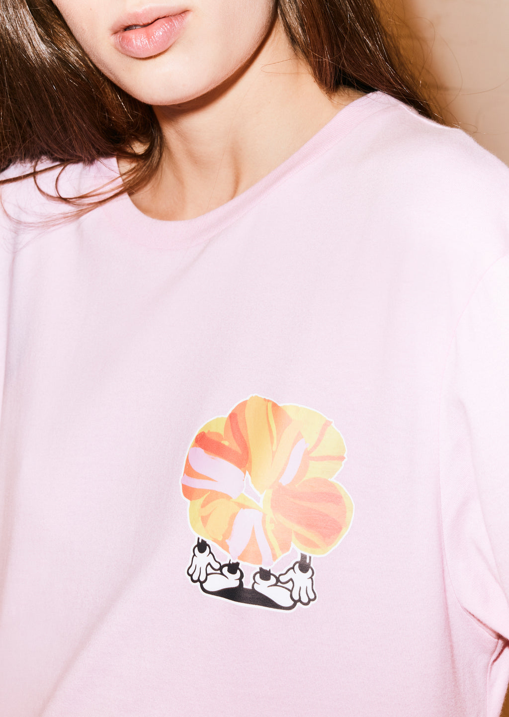 Pink Flower Man Long Sleeved T-Shirt