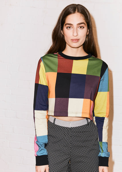 PATCHWORK CROPPED SKATER T-SHIRT